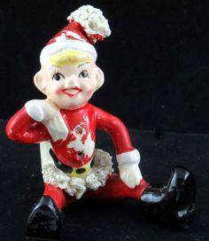 Vtg Japan Red Christmas Elf Figurine Ceramic Spaghetti Trim Seated AS IS
