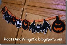 Halloween garland with template.