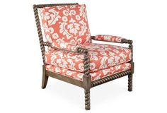 This accent chair is fashioned with a standout spindle frame, floral-print fabric, and matching manchettes. Crafted of kiln-dried hardwood with a cushy foam-and-fiber fill, it is as comfortable as it is stylish. Comfortable Accent Chairs, Small Accent Chairs, Accent Chairs For Living Room, Spindle Chair, Spool Chair, Furniture Layout, Furniture Arrangement, Cow Print Chair, Bedroom Chair