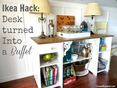 Ikea Hack Desk turned into a buffet via Chase the Star #ikea #desk #hack #buffet #diningRoom #console #sideboard
