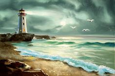 Lighthouse beach seascape decorative oil on canvas 24x36 painting by RUSTY RUST / M-237 on Etsy, $149.00