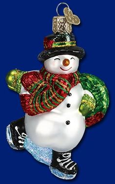 Skating Snowman,  Old World Christmas Glass Ornaments