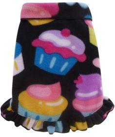 Cozy Fleece Cupcakes Pullover Ruffled Skirt Tank Dress - in Black Multi