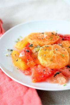 [CITRUS & MINT SALAD] :: red grapefruits, oranges, clementines, blood oranges, lemon, lime, granulated sugar, & fresh mint leaves.