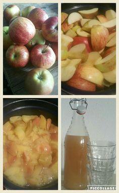 Appelsap maken: 1,5 tot 2 kilo appels, klokhuis eruit snijden, inkoken in een laagje water tot ze uit elkaar vallen, +/- 45 min, pureer ze helemaal fijn. Uit laten lekker door een theedoek, afkoelen en klaar!!!