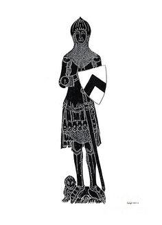Medieval Knight Brass Rubbing Fine Art Print - Shelagh Watkins