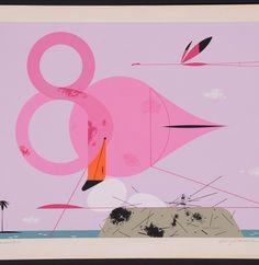 Original Charley Harper Flamingo Serigraph