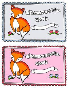 printable book plates | Free Cool Artsy Fox Printable Bookplates Labels