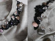DIY Sewing: DIY lace and gem cardigan : DIY Clothes Refashion