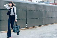 NYFW S/S 2016 Street Style - via Tommy Ton #denim #shirt #fashion