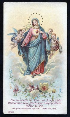 "Starry crown and four supports. Late century Italian Holy Card, ""Blessed be the Holy and Immaculate Conception of the Most Blessed Virgin Mary Mother of God"" Blessed Mother Mary, Divine Mother, Blessed Virgin Mary, Catholic Art, Catholic Saints, Religious Art, Jesus E Maria, Vintage Holy Cards, Queen Of Heaven"
