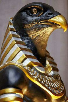 Horus was the name of a sky god in ancient Egyptian mythology with the head of a falcon. He was the falcon god of the pharaohs and the sky.