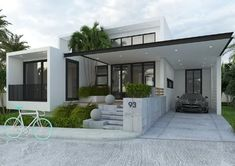 Luxurious modern bungalow with three bedrooms - Pinoy House Plans Modern Bungalow House Plans, Modern Bungalow Exterior, My House Plans, House Design Plans, Simple Bungalow House Designs, Split Level House Plans, Modern Exterior House Designs, Architectural Design House Plans, Modern Architecture House