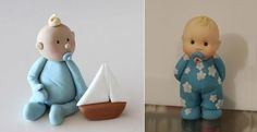 baby boy model baby cake topper by Sharon Wee Creations left, Kleinezuckerfee blog right
