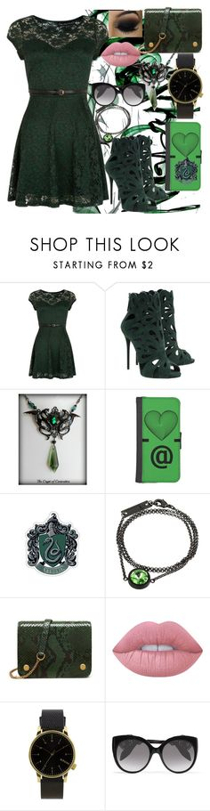 """""""Green is the new Black"""" by vampirekitty34 ❤ liked on Polyvore featuring Mela Loves London, Giuseppe Zanotti, V by Valkeniers, Mulberry, Lime Crime, Komono and Alexander McQueen"""