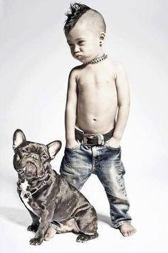 beautiful tattoo boy with pitbull
