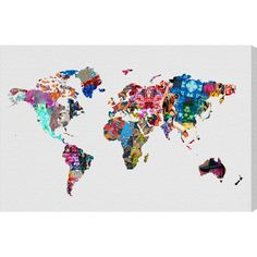 A vibrant addition to your walls, this printed-to-order canvas art features a map of the world in a kaleidoscope of bold patterns.