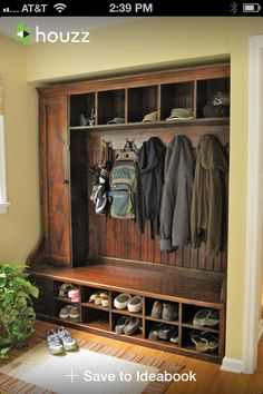 Great entryway idea, with built in storage.