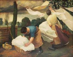"""1927 ~ """"Dry Clothes and Rain"""" by Charles Frederick Tunnicliffe OBE, RA, Renowned British Naturalistic Painter . Laundry Art, Laundry Room, Rain Art, Nature Artists, Windy Day, Art Uk, Women In History, Your Paintings, Artist Art"""