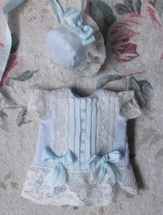 Lovely mignonette blue batiste outfit, hanmade with antique fabrics and laces
