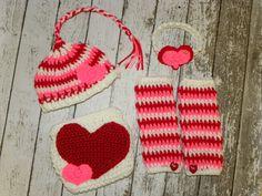 Valentine's Photography Prop Set. Newborn baby girl Valentine's prop bundle.  Crochet headband, leg warmers, beanie, and diaper cover.. $60.00, via Etsy.