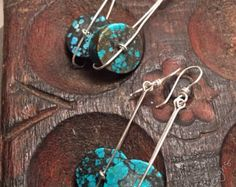 Turquoise on the Move earrings, Your Choice of Metal and Turquoise, ThePurpleLilyDesigns