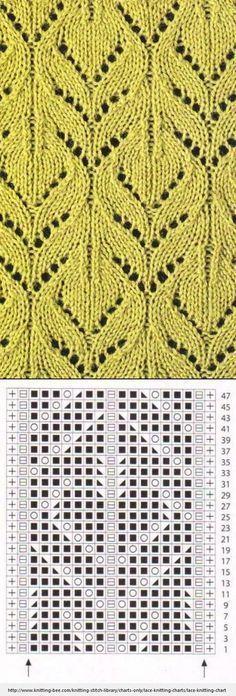 Lace Knitting Pattern with chart . Lace Knitting Pattern with chart More. Lace Knitting Stitches, Lace Knitting Patterns, Knitting Charts, Lace Patterns, Knitting Designs, Free Knitting, Baby Knitting, Stitch Patterns, Knitting Ideas