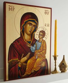 Most Holy Theotokos Hand-Painted Byzantine Icon