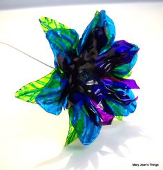 Blue and Purple Fantasy Flower Upcycled from Plastic Water Bottles, by MaryJeansThings