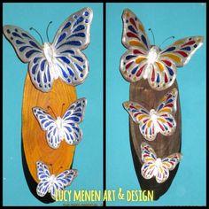 Mariposas en repujado con técnica falso vitral