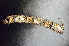 Vintage Rhinestones / Brass Leaves Bracelet / Vintage Art Deco Style Bracelet / Costume Jewelry by VintageVixens1 on Etsy