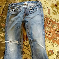 True religion jeans True religion jeans. Great condition if you don't mind the 'torn' knee look. Worn once. True Religion Jeans