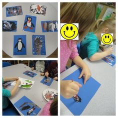 We did open ended penguin painting by using black, white, and orange paint to create an image of penguins or something penguin related. NAEYC Standard: 9.1c.1 Representation