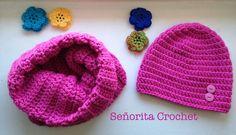 Duo: col + bonnet Señorita Crochet #madewithKatia