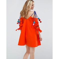 ASOS Cold Shoulder Sundress with Pom Pom Detail Straps (2,630 PHP) ❤ liked on Polyvore featuring dresses, orange, cotton sun dresses, red sun dress, party dresses, red dress and red cotton dress
