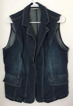 Womens COLDWATER CREEK Blue Jean Denim Vest Jacket W18 Hook Button Dark Stretch #ColdwaterCreek #Vest
