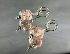 VALENTINE'S SNOWGLOBES Lampwork Earrings Sterling Leverbacks Lampwork Swirls with Silver Flakes and is Flecked with Pink on its Surface