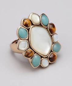 Take a look at this Tiger's Eye & Mother-of-Pearl Flower Ring by Barse on #zulily today!