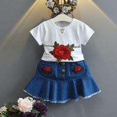 New Summer Girls Clothing set Embroidery Rose T-Shirt+ Cowboy Skirt 2Pcs Set Kids Clothes Girls Sets