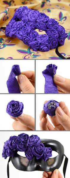 we love this diy tutorial on making a crepe paper flower mask for mardi gras!