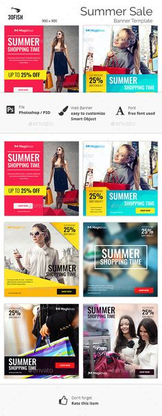 Summer Sale Banner Template #design Download: http://graphicriver.net/item/summer-sale-banner/12299039?ref=ksioks