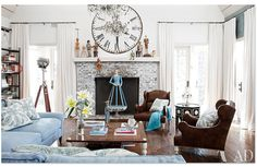 Architectural Digest-The Osbourne's House and a big clock on the wall