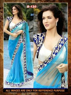 BENZER BLUE Net saree with designer thrad work on velvet boder blouse Plain blouse dhupiyian.Over coat velvet with heavy work all oever Price 1790+ shipping charges extra.  Contact us On heenaethnicwear@gmail.com / whatsapp on 93757 33334