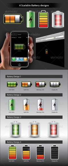 Battery Kit  #GraphicRiver         4 various battery designs, that can be used for - Mobile battery check applictions (as shown with a sample iphone pic) - Flash page loaders (as shown with a sample browser) - Battery icons that can be used in any android, symbion interfaces - Can be used to create Battery charging animated gif     Created: 4March11 GraphicsFilesIncluded: AIIllustrator Layered: Yes MinimumAdobeCSVersion: CS3 Tags: battery #charging #green #health #loader #metal #orange #red…