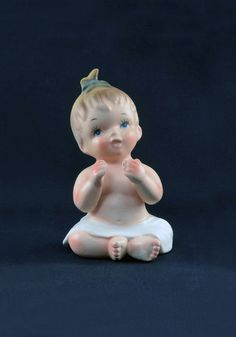 Sweet Napco Piano Baby FIgurine 1960 Girl C4909L by TreasuryShop ---SOLD