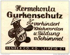 Original-Werbung/ Anzeige DDR 1957 - HERMEKONTA GURKENSCHUTZ / HENKE LEIPZIG - ca. 60 x 45 mm