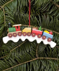 Love this 2.75'' Wood Toy Train Ornament on #zulily! #zulilyfinds