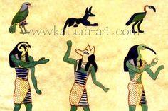 Horus/Falcon, Anubis/jackal, Thoth/ibis