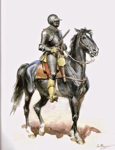 Cuirassier 17th Century by French artist Lucien Rousselot. (Died May 1992).