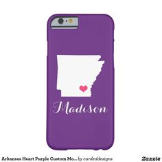 Arkansas Heart Purple Custom Monogram Barely There iPhone 6 Case